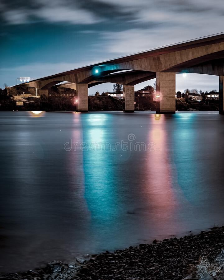 Bridge. Longexposure night light stock photography