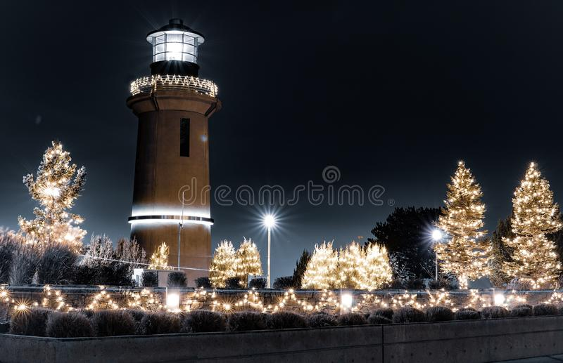 Lighthouse. Longexposure night light royalty free stock images