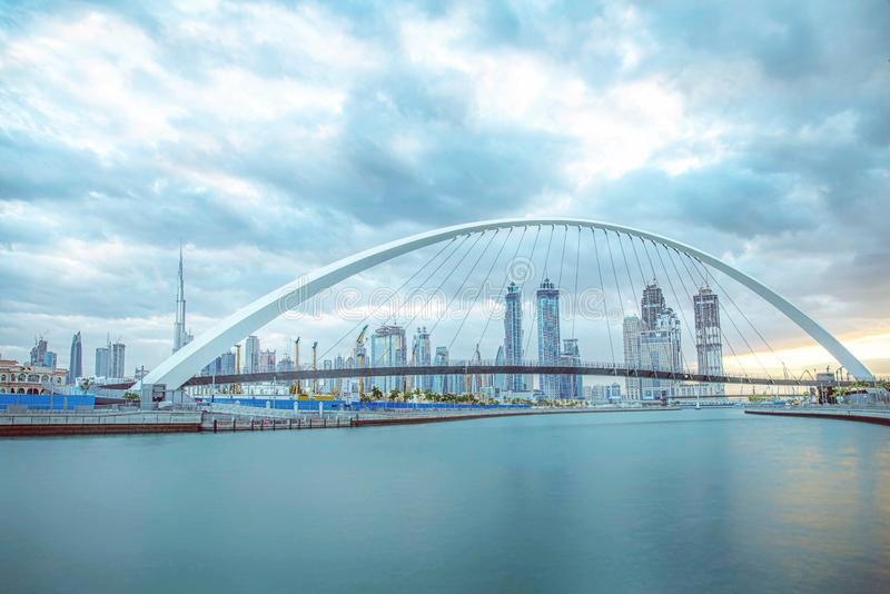 Blue hour. Longexposure shot from Dubai water canal stock images