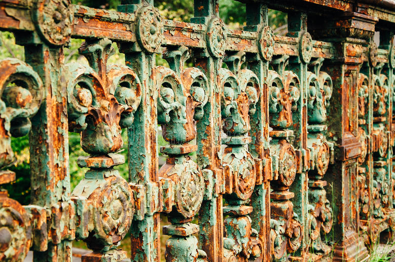Longfellow bridge old iron railing. royalty free stock image