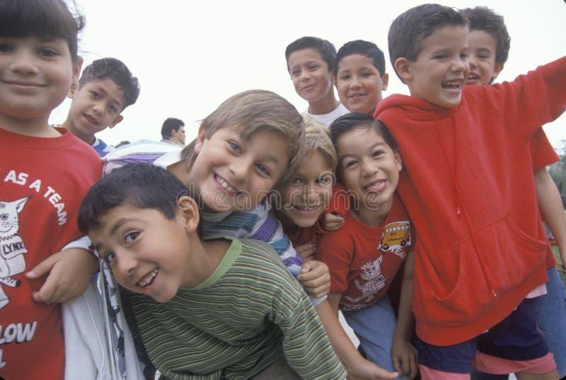 Longfellows台中国小,洛杉矶,加州的多的cutural孩子 免版税库存照片