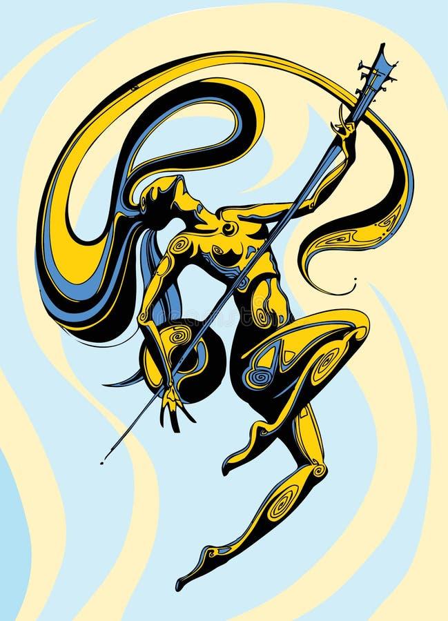 Longhair танцы девушки с sintar на предпосылке с голубым и желтый иллюстрация штока