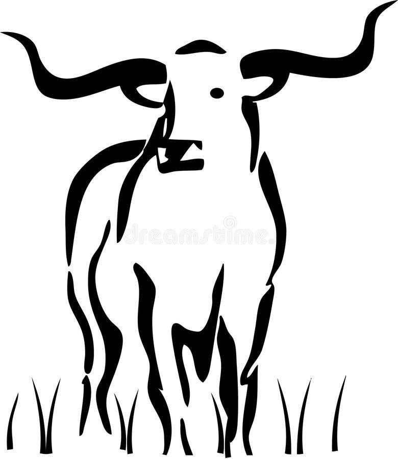 Longhorn restant dans l'herbe illustration de vecteur