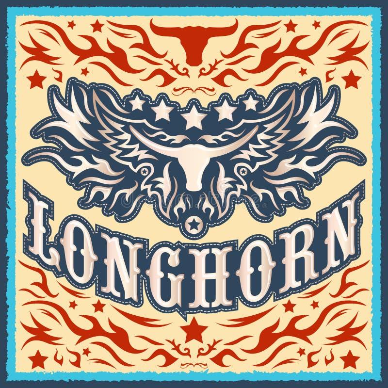 Longhornu rocznika zachodni wektorowy projekt royalty ilustracja