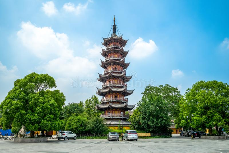 Facade view of Longhua Temple in Shanghai, China. The Longhua Temple is a Buddhist temple dedicated to the Maitreya Buddha located in Shanghai, China royalty free stock image