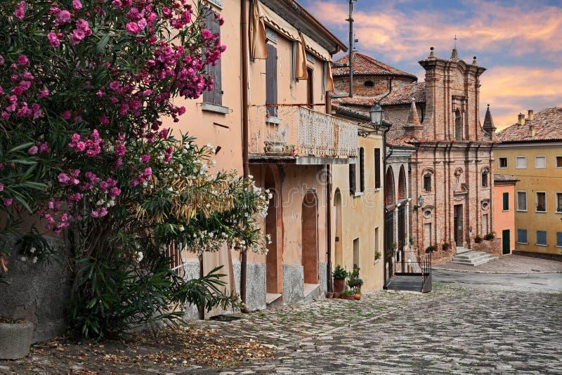 Longiano, forli, emilia, Włochy: pejzaż miejski z ol zdjęcia stock