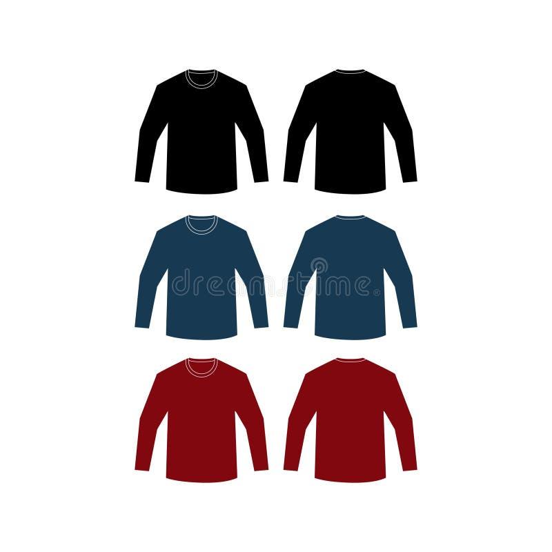 Longitud llana del vector de las camisas de la maqueta stock de ilustración