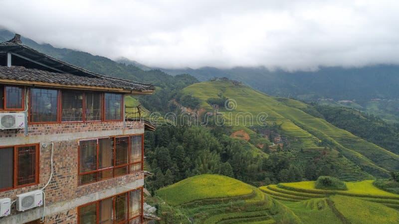 Longji risterrasser, Guangxi landskap, Kina arkivfoto