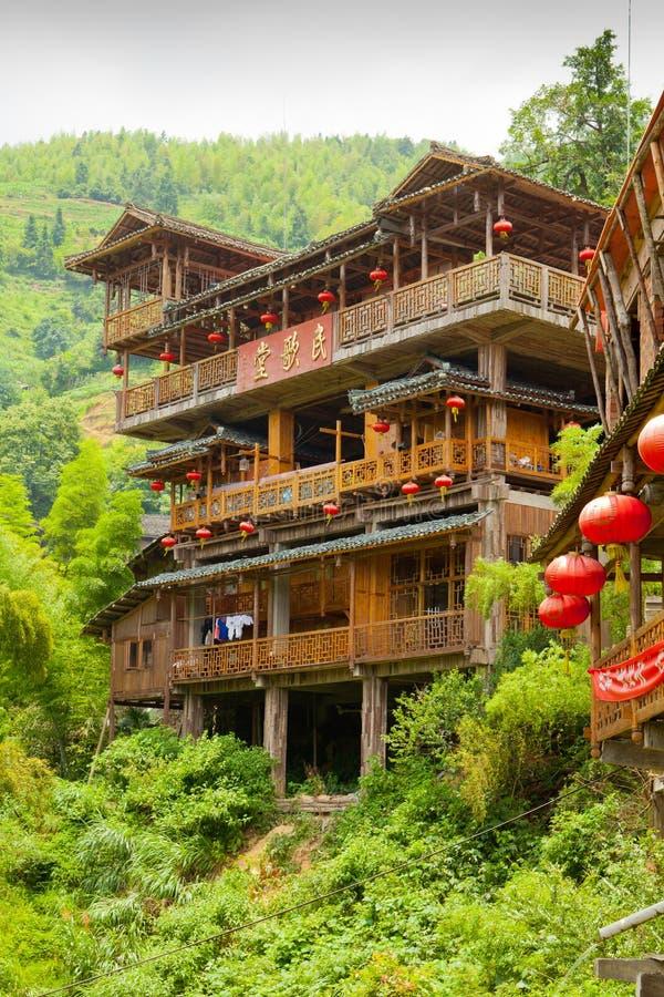 Longji terrasserade hus royaltyfri fotografi