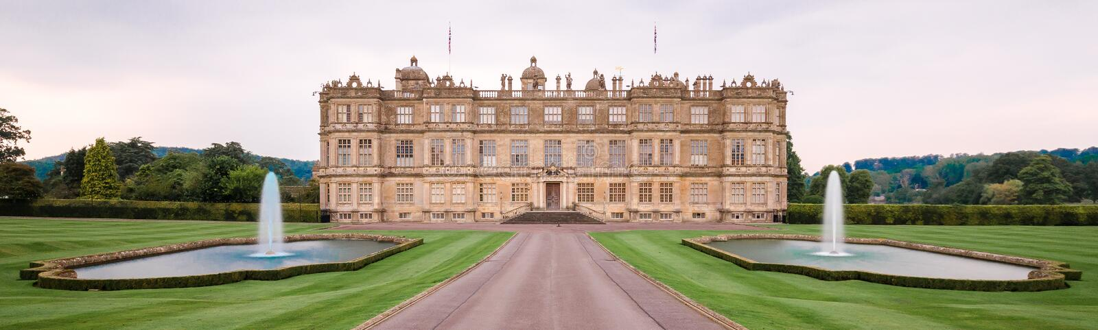 Longleat House and fountains. The house of Lord Bath with fountains in foreground stock photo
