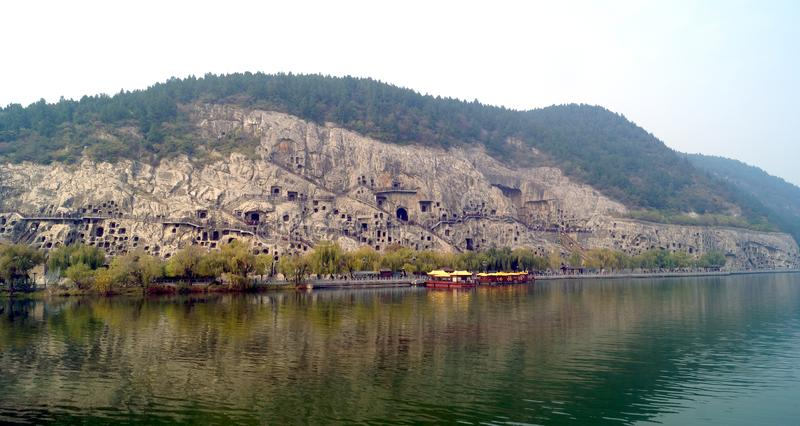 Longmen grottoes view from the river royalty free stock photo