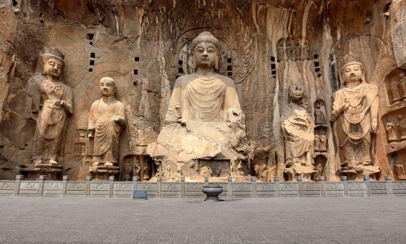 Longmen grottor med Buddha diagram royaltyfri foto