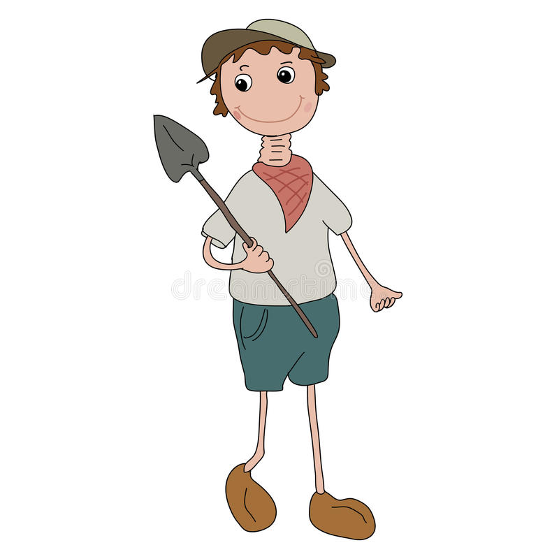 Longneck gardener doll stock illustration