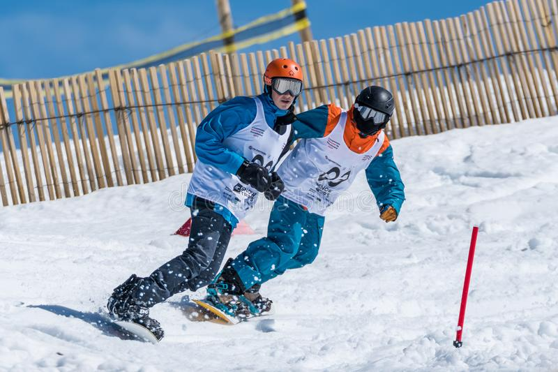 Longo e Alexandre Sousa de Tomas durante o Snowboard Ch nacional fotografia de stock royalty free