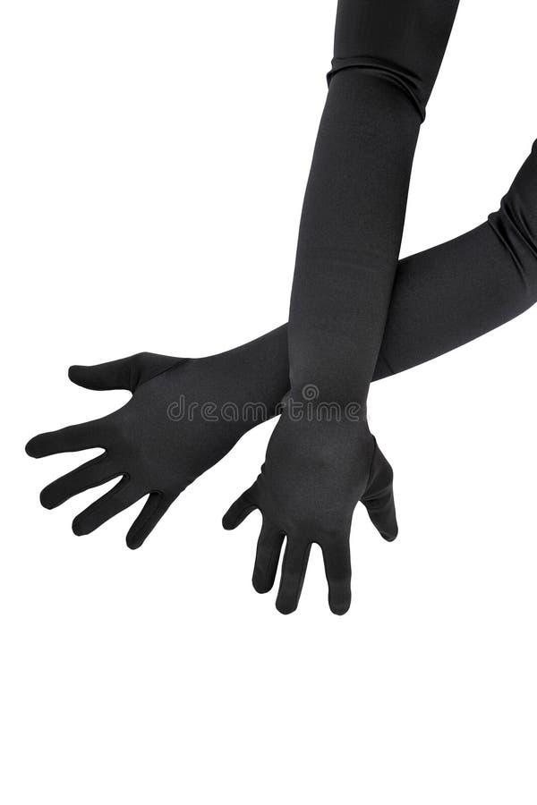 Longs gants noirs image libre de droits