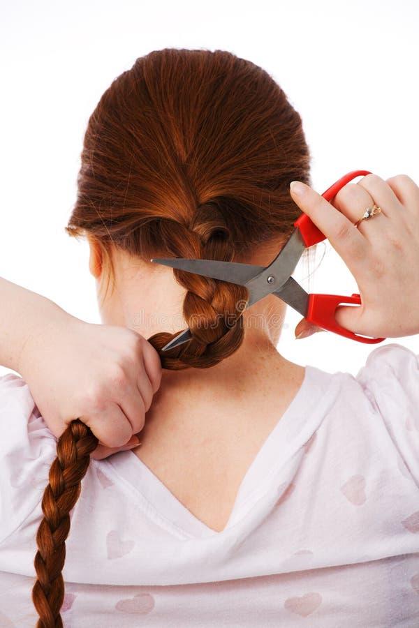 longs jeunes rouges de femme de beau cheveu de coupures images libres de droits
