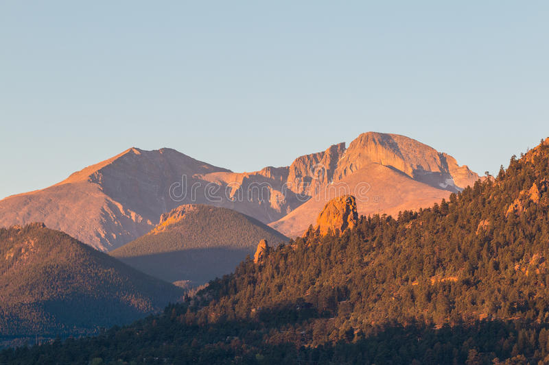 Longs Peak Colorado at Sunrise stock images