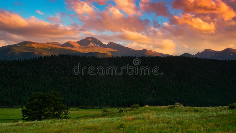 Longs Peak At Sunset stock images