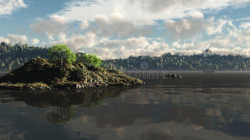 longship odległa mgła Viking ilustracji