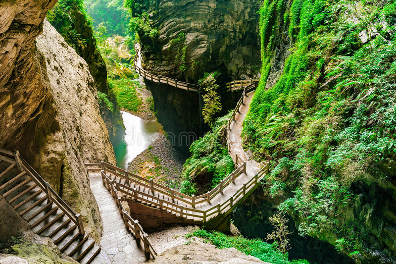 Longshuixia Fissure Gorge in Wulong country, Chongqing, China. Longshuixia Fissure Gorge in Wulong country, Chongqing city, southwest China, It is a typical royalty free stock photography