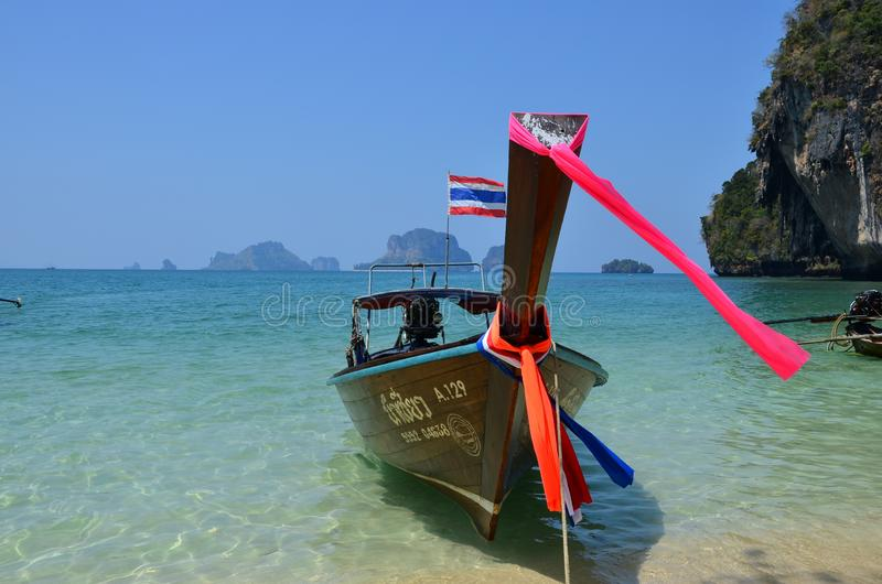 Longtail boat on the beach in Thailand stock images