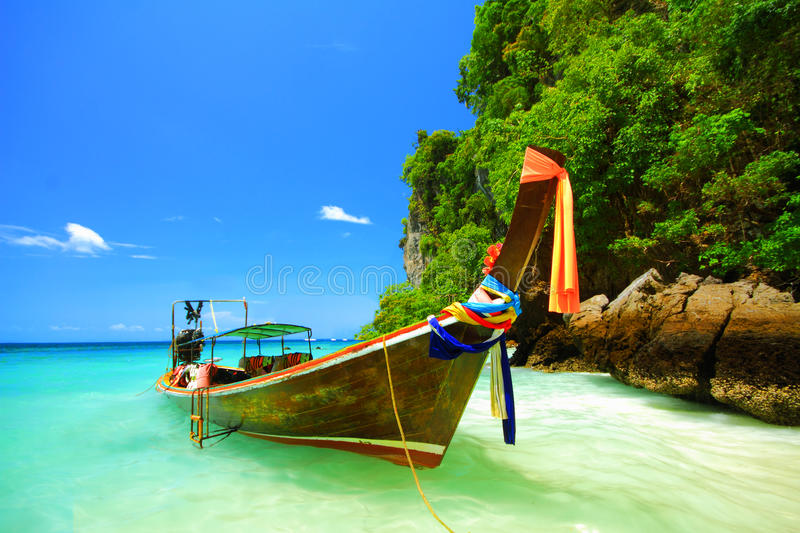 Longtail boat and the clear sea at Phi Phi Don island Andaman se stock photography