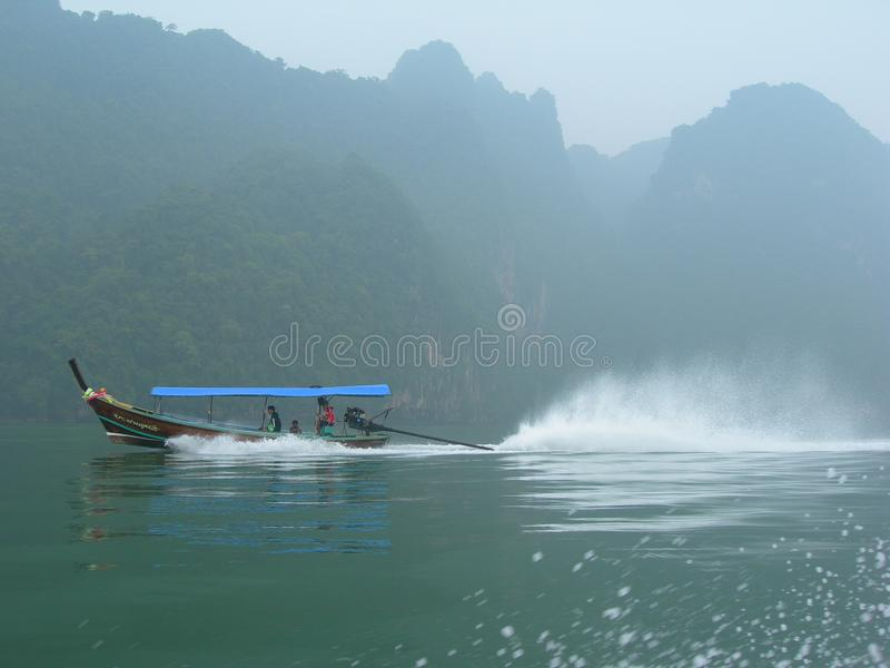 Misty Longtail boat ride royalty free stock images