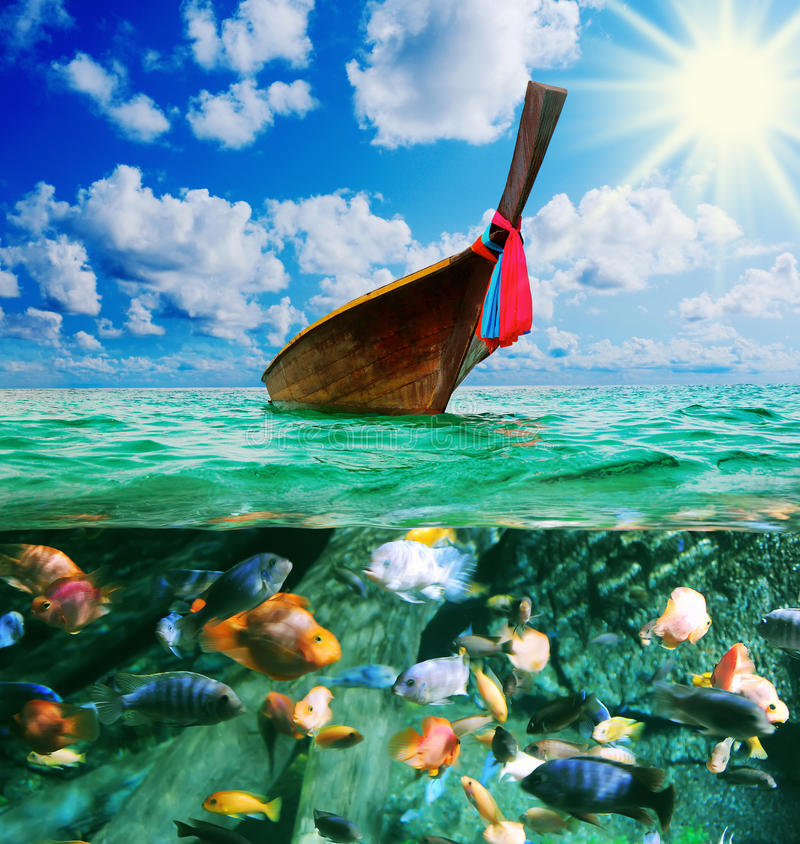 Download Longtail Boat On The Sea Tropical Beach Stock Photo - Image: 29038998