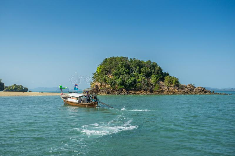 Longtail boats going to the Phak Bea Island in Krabi Province Thailand. KRABI THAILAND 3 FEB 2018: Longtail boats going to the Phak Bea Island in Krabi Province stock images