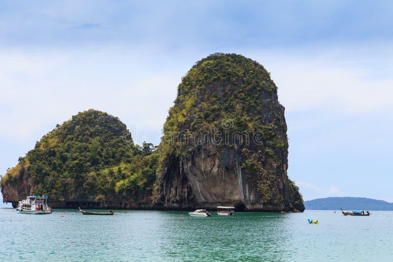 Longtail boats, Tropical beach. Tub Island, Andaman Sea, Thailand stock photos