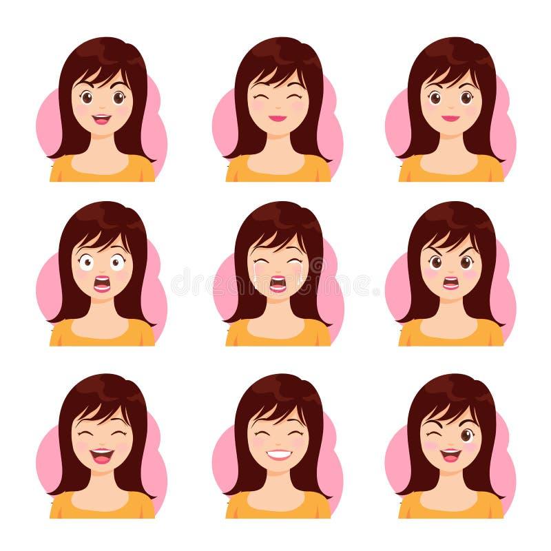 Longue émotion de visage de cheveux de femme illustration stock