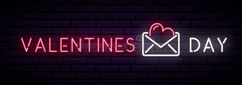 Longue bannière au néon avec le jour de valentines d'inscription et carte postale sur le mur de briques foncé illustration stock