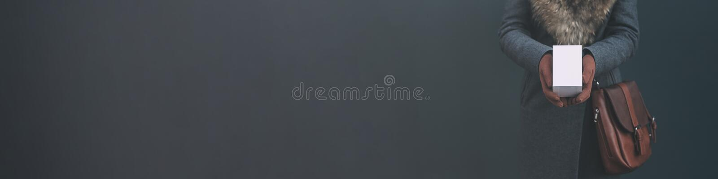 Longue bannière avec la moquerie vers le haut d'un boîtier blanc d'un smartphone La fille dans un manteau et des gants bruns tien photos stock