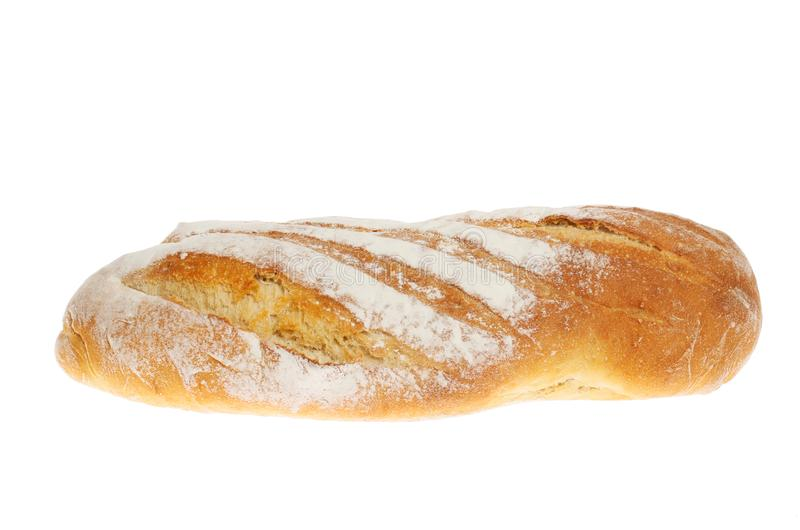 Longue bread loaf. Hand crafted longue bread loaf isolated against white royalty free stock photo