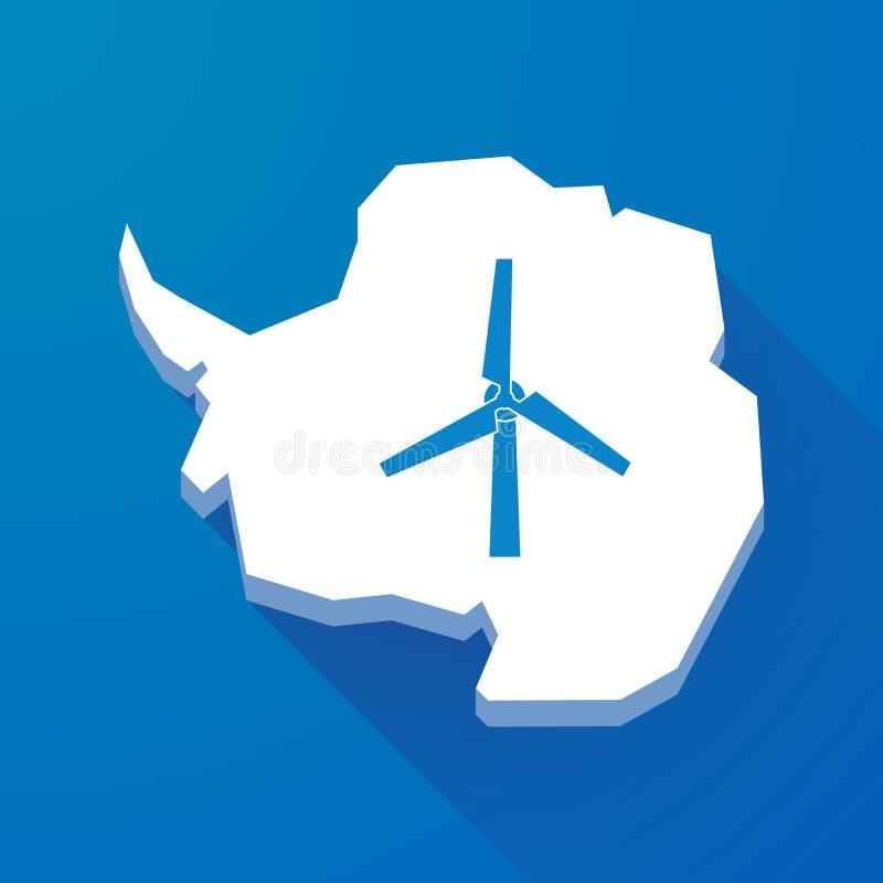 Longue carte d'ombre de continent de l'Antarctique avec un générateur de vent illustration stock