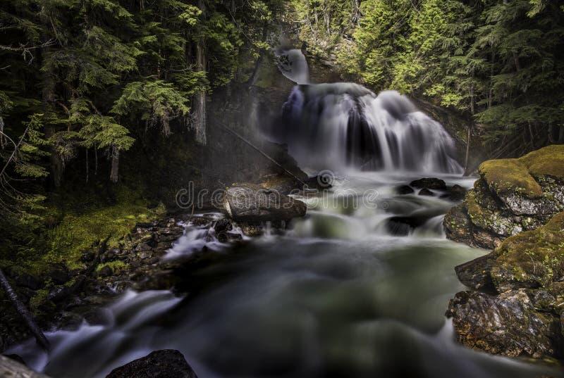 Longue cascade d'exposition, roches, forêt, lumière du soleil photos libres de droits