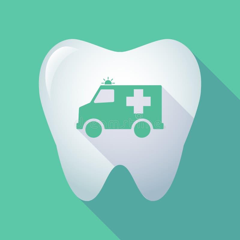 Longue dent d'ombre avec une icône d'ambulance illustration stock