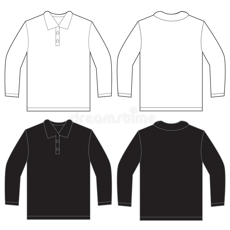 Longue douille blanche noire Polo Shirt Design Template illustration de vecteur