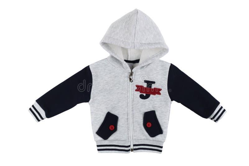 Longue douille d'enfants de pull molletonné gris de hoodie d'isolement photo stock