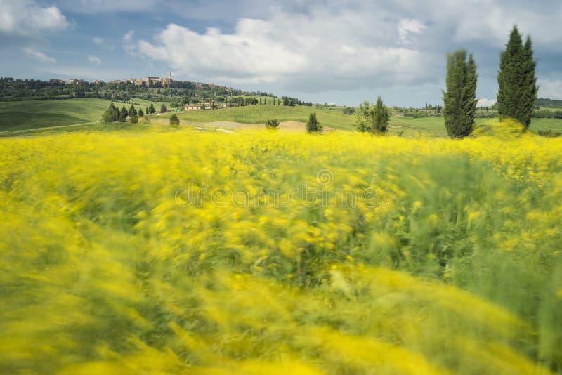 Longue exposition au-dessus de Pienza, Toscane image stock