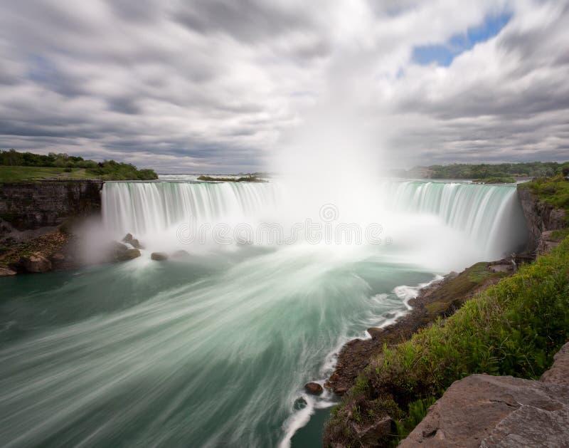 Longue exposition de chutes du Niagara de côté canadien photos stock