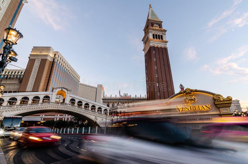 Longue exposition de Las Vegas vénitien photographie stock libre de droits