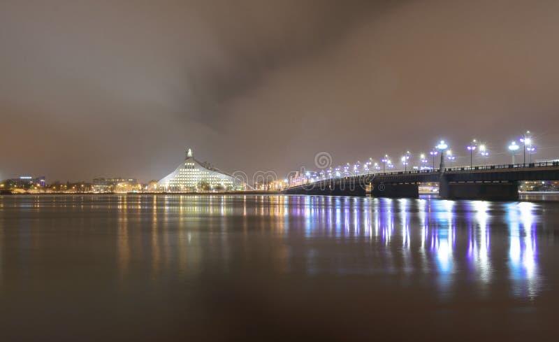 Longue exposition sur la rivière - Riga - Lettonie photo stock