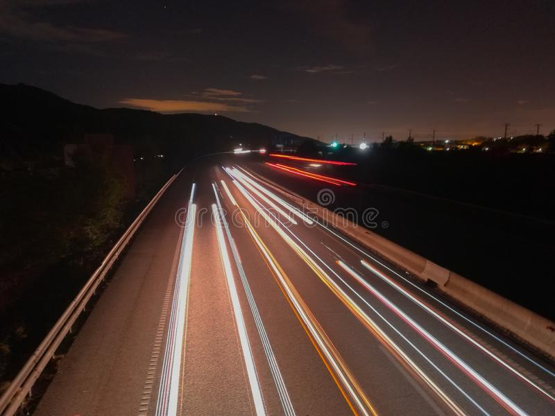 Longue exposition sur la route ap7 image stock