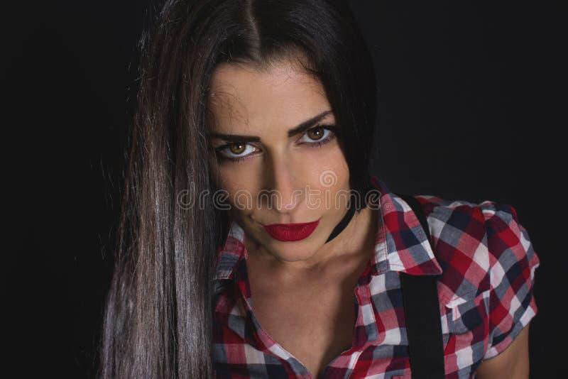 Longue femme de cheveux noirs images libres de droits