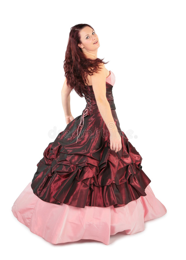 longue femme rose de robe photos libres de droits
