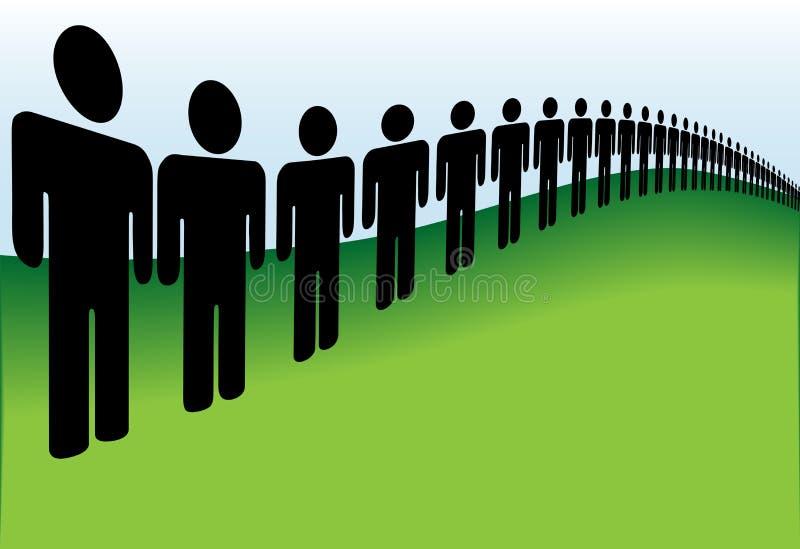 Longue file des gens alignés sur la terre illustration de vecteur