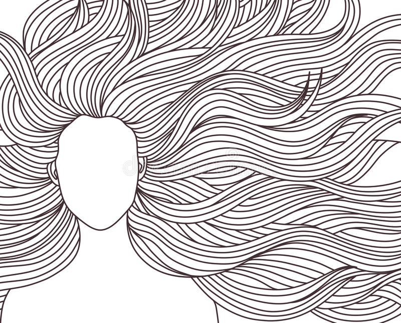 Longue fille de beauté de cheveux illustration stock