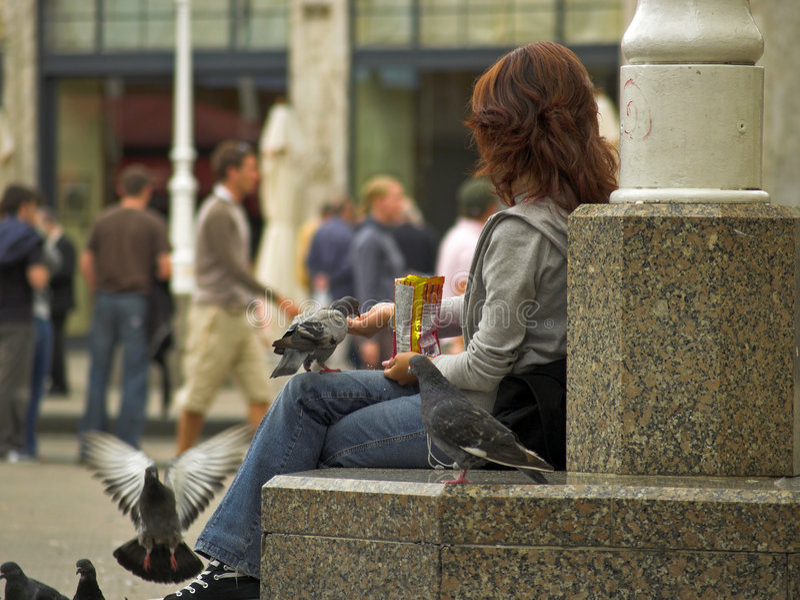 Longue fille de cheveu alimentant un Pidgeons photographie stock