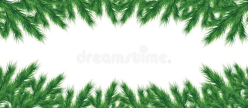 Longue guirlande des branches d'arbre de Noël d'isolement Vecteur illustration stock